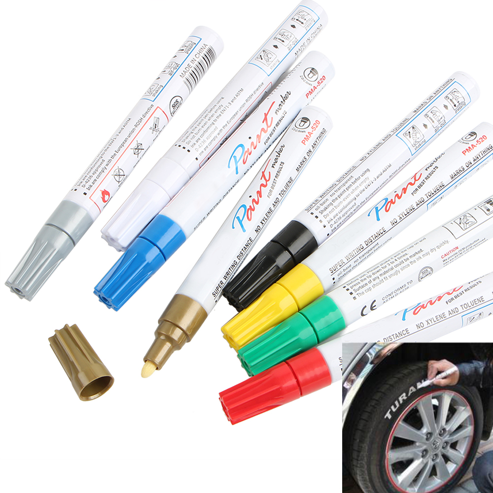 8 color Markers White Waterproof Rubber Permanent Paint Marker Pen Car Tyre Tread Environmental Tire Painting Free Shipping