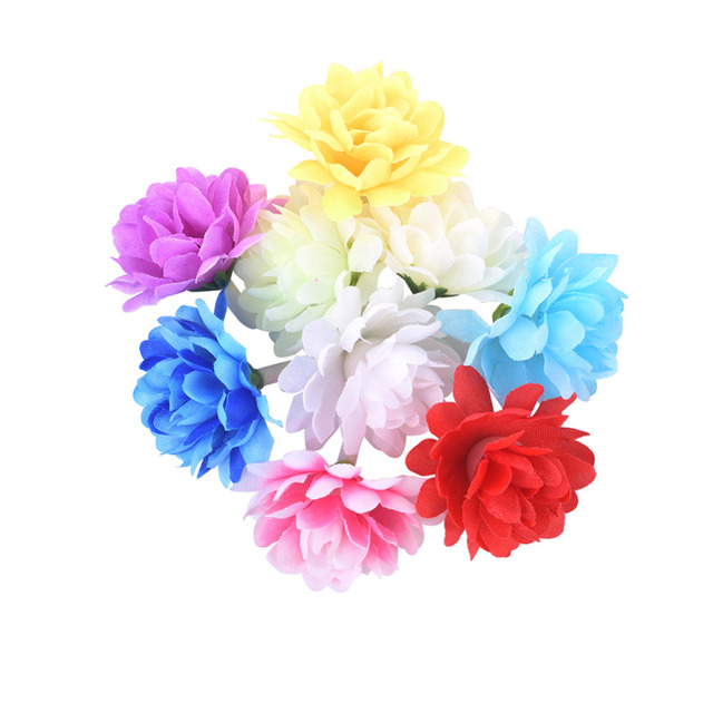 50Pcs Lot Mini Chrysanthemum Artificial Flowers Bouquet Wedding Decoration For DIY Scrapbooking Daisy Flower Ball