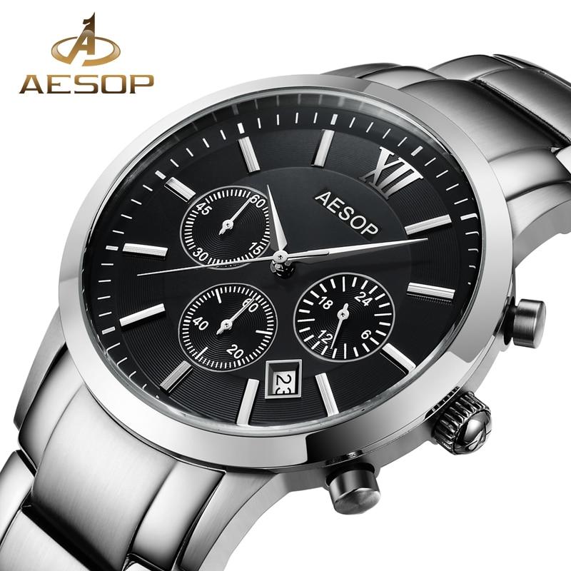 AESOP Sapphire Crystal Watch Men Sport Quartz Stopwatch Wristwatch Auto Date Leather Male Clock Relogio Masculino Hodinky New 46 seiko watch premier series sapphire chronograph quartz men s watch snde23p1
