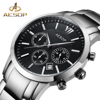 462f0889e5f AESOP Sapphire Crystal Watch Men Sport Quartz Stopwatch Wristwatch Auto  Date Leather Male Clock Relogio Masculino