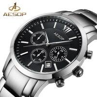 AESOP Sapphire Crystal Watch Men Sport Quartz Stopwatch Wristwatch Auto Date Leather Male Clock Relogio Masculino