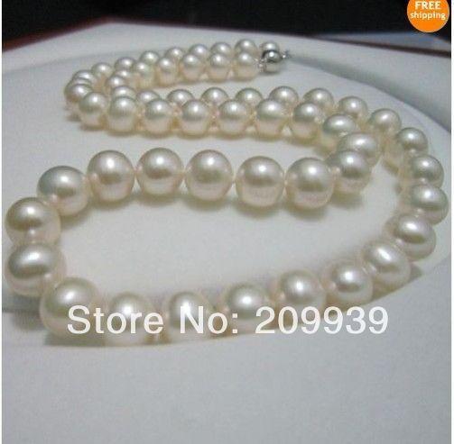 Бесплатная доставка Лидер Продаж Благородный >>>@@ Огромный Красивый AAA 12 13 мм моря белый жемчужное ожерелье