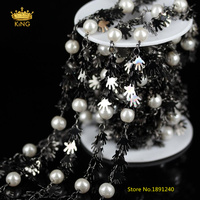 NEW Style Rosary Chains 5Meters 8mm White Pearl Round Beads Wire Wrapped Palm Hand Copper Plated