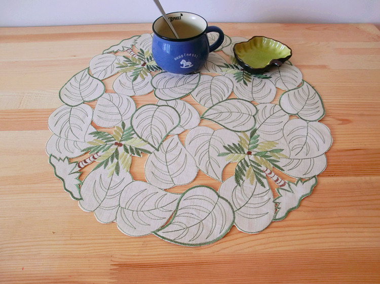 Creative satin table place mat cloth lace pad cup mug holder wedding drink coaster glass placemat trivet doily kitchen decor