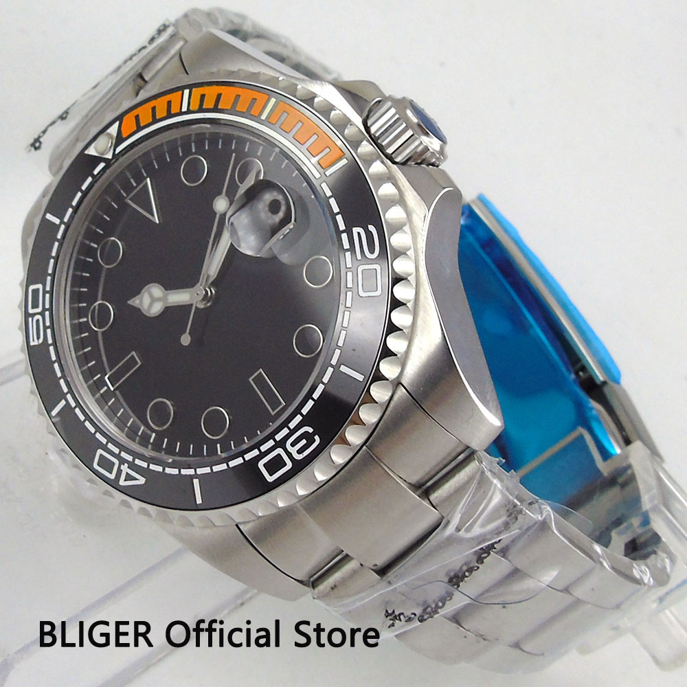 العقيمة Bliger 43 مللي متر الياقوت زجاج ساعة اليد للرجال أسود الهاتفي مضيئة السيراميك الحافة Miyota التلقائي حركة ساعة رجالي B106-في الساعات الميكانيكية من ساعات اليد على  مجموعة 1
