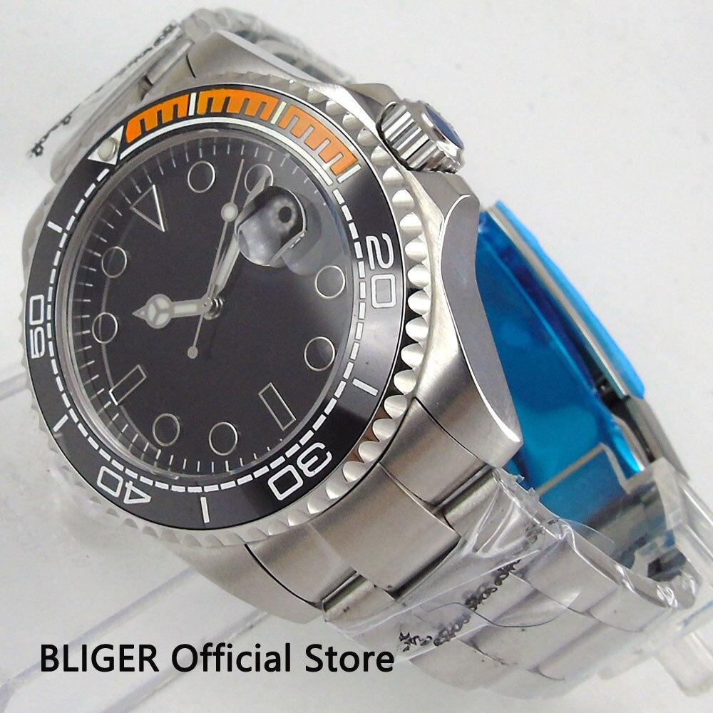 Sterylne Bliger 43 MM szkło szafirowe zegarek na rękę mężczyźni czarna tarcza świecąca ceramiczna ramka Miyota mechanizm automatyczny zegarek męski B106 w Zegarki mechaniczne od Zegarki na  Grupa 1