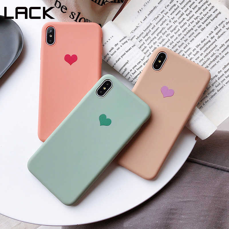 LACK Couples Love Heart Candy Color Soft silicone Matte Phone Case For iphone 8 Plus 6 6S 7 X XS Max XR Fashion Solid Back Cover