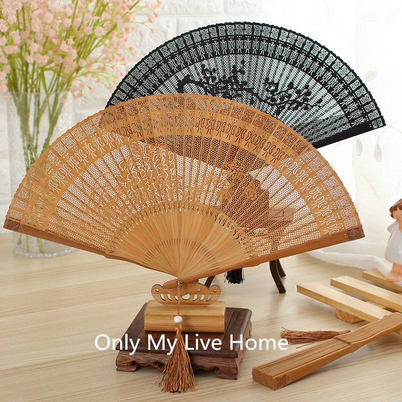 Openwork Craft Gift Chinese Fan Decorative Vintage Full Bamboo Folding Hand Fan Traditional Carved Handheld Portable