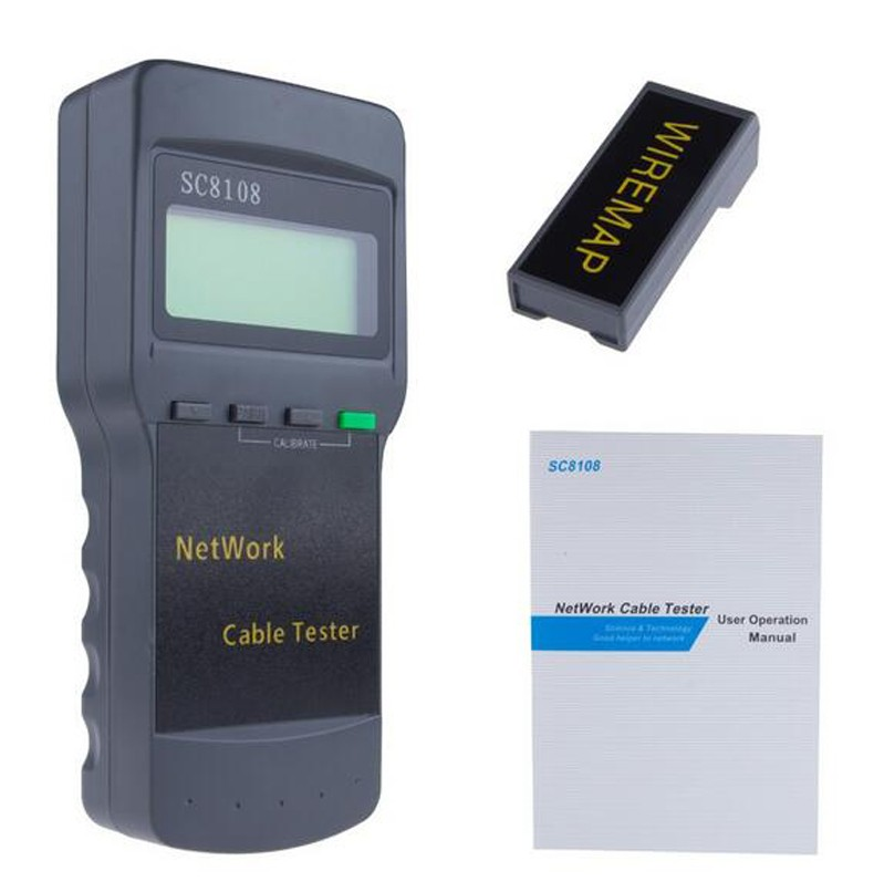 SC8108 LCD Digital PC Daten Netzwerk Tragbare Multifunktions CAT5 RJ45 Wireless LAN Telefon Meter Länge Kabel Tester Meter