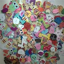 50 шт смешанные животные милые деревянные пуговицы для скрапбукинга ручной работы DIY Детские аксессуары для шитья одежды украшения