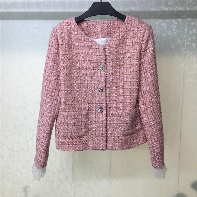 Твидовая куртка для женщин с длинным рукавом и круглым вырезом модное элегантное розовое пальто 2018 Новая женская куртка