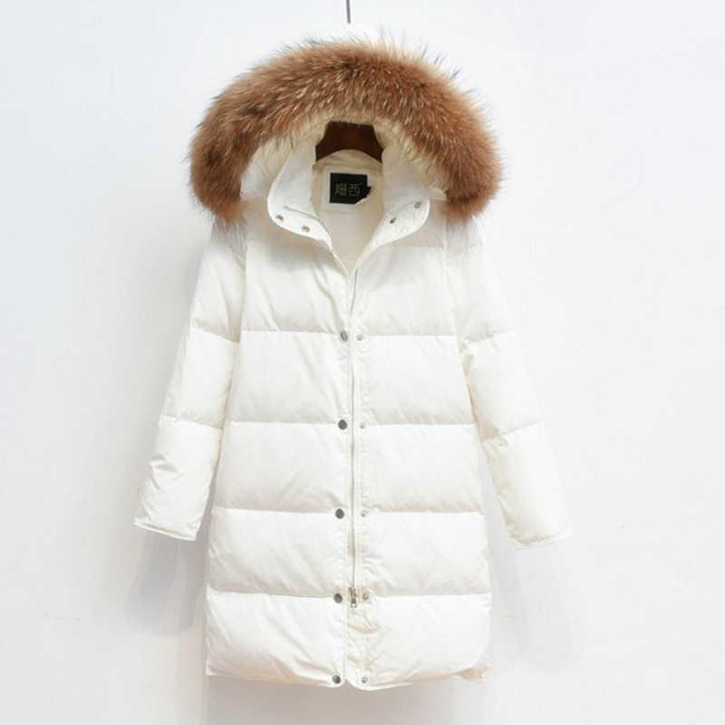 77c1b89562d ... 90% белая куртка-пуховик 2018 Женская парка для зимней куртки Женская  Длинная толстая парка ...