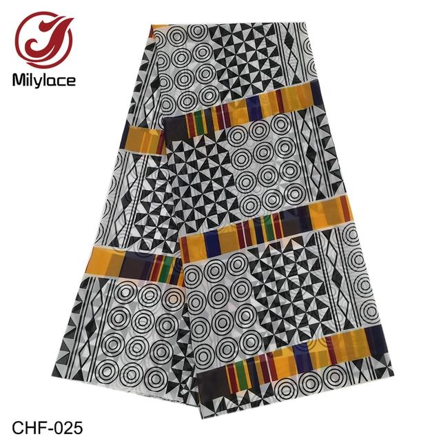 Afrikaanse Chiffon Digitale Bedrukte Stof Patroon Hot Selling Afrikaanse Wax Prints Chiffon Stof Voor De Zomer Jurken CHF 025 028