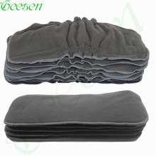 5 Pcs Bamboo Charcoal Insert Baby Gussets Charcoal Insert Nappy   , 5layer Charcoal Diaper Insert Reusable Cloth Diaper Insert