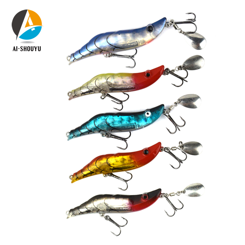 AI-SHOUYU Shrimp Fishing Lure 80mm 15g Hard Bait ABS Plastic BBK Hook For Seawater Fishing Lures Sea Lure Fishing Tackle