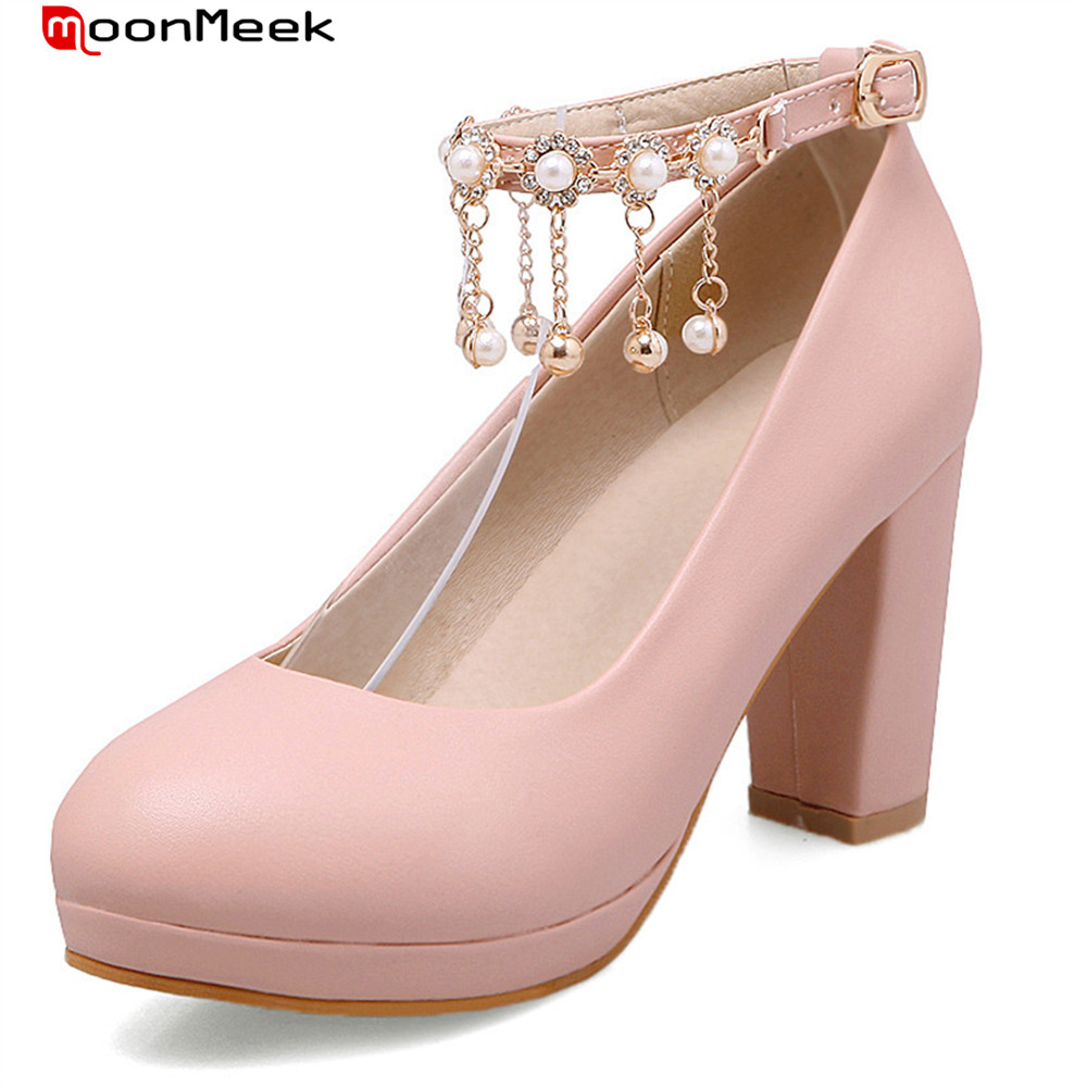 MoonMeek new fashion 2018 spring autumn platform shoes high heels wedding shoes with buckle hot prevail sexy woman pumps siketu 2017 free shipping spring and autumn high heels shoes fashion women shoes wedding shoes rhinestones jobs pumps g060