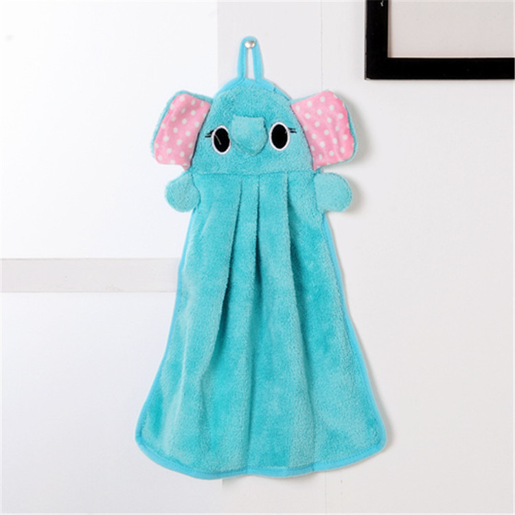 Hand towel Cartoon Elephant Hand Dry Towel Clearing Lovely Animal Face Towel For Kitchen Bathroom Office Car Use