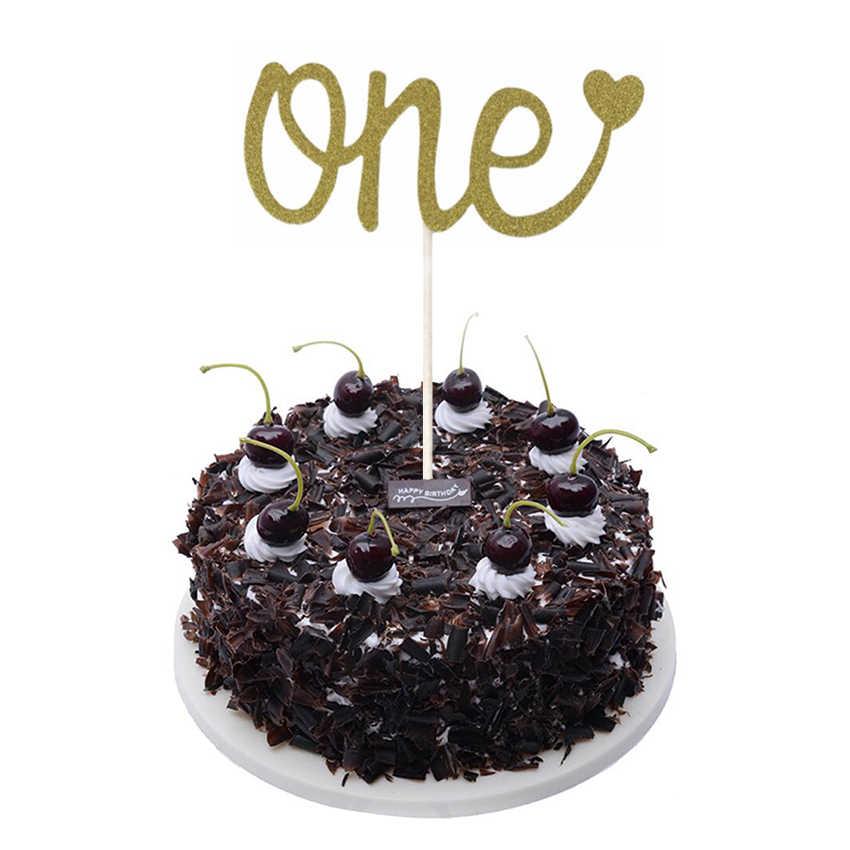 Happy 18/20/30/40/50/60th Anniversary Cupcake Topper Glitter Silhouetteเค้กTopperงานแต่งงาน/วันเกิด/ปาร์ตี้เค้กตกแต่ง