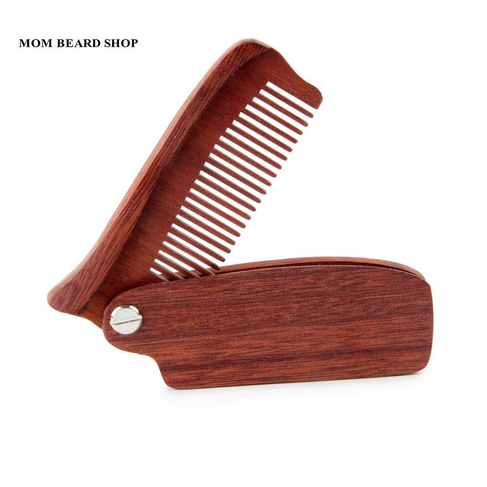 Men Folding Beard Comb Wooden Massage Hair Brush Comb Folding For Beard Hair Styling Tool Long Handle Fine Tooth Wood Comb 1PCS