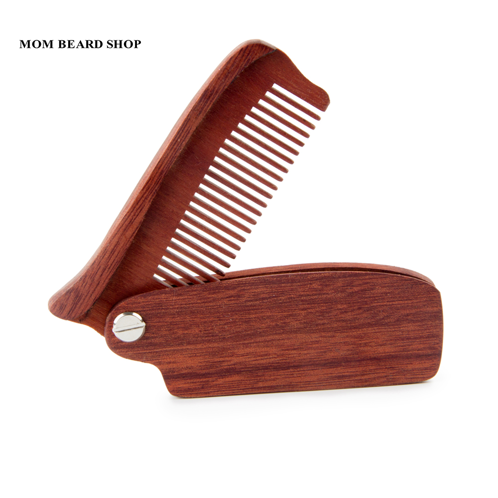 Men Folding Beard Comb Wooden Massage Hair Brush Comb Folding For Beard Hair Styling Tool Long Handle Fine Tooth Wood Comb 1PCS vintage style portable folding airbag massage comb with mirror