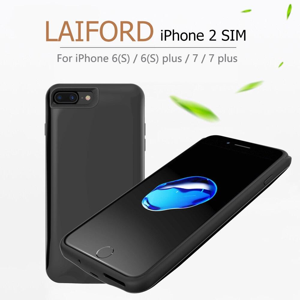 LAIFORD Double SIM Double Veille Cas Pour iPhone6/6 et du Caoutchouc coque de téléphone Ultra-mince Retour Clip Batterie 1500 /2500 mAh batterie externe