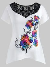 Wipalo Plus Size 5XL Floral Print Asymmetrical T-Shirt Causal O Neck Short Sleeve Summer T Shirt Women Clothes Big Size Top(China)