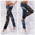 Hot Women Fashion Slim Low Waist Skinny Lace Jeans  Large Size Crochet Stretch Denim Jeans Hollow Out