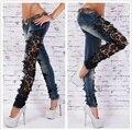 Mujeres calientes de La Manera Delgada Cintura Baja Flaco Pantalones de Encaje de Gran Tamaño Crochet Stretch Denim Jeans Ahueca Hacia Fuera