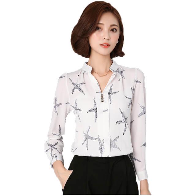 4ffdd92f9c5 2016 Autumn Sea Star Printed Women Chiffon Blouse V-Neck Buttons Long  Sleeve Shirts Ladies