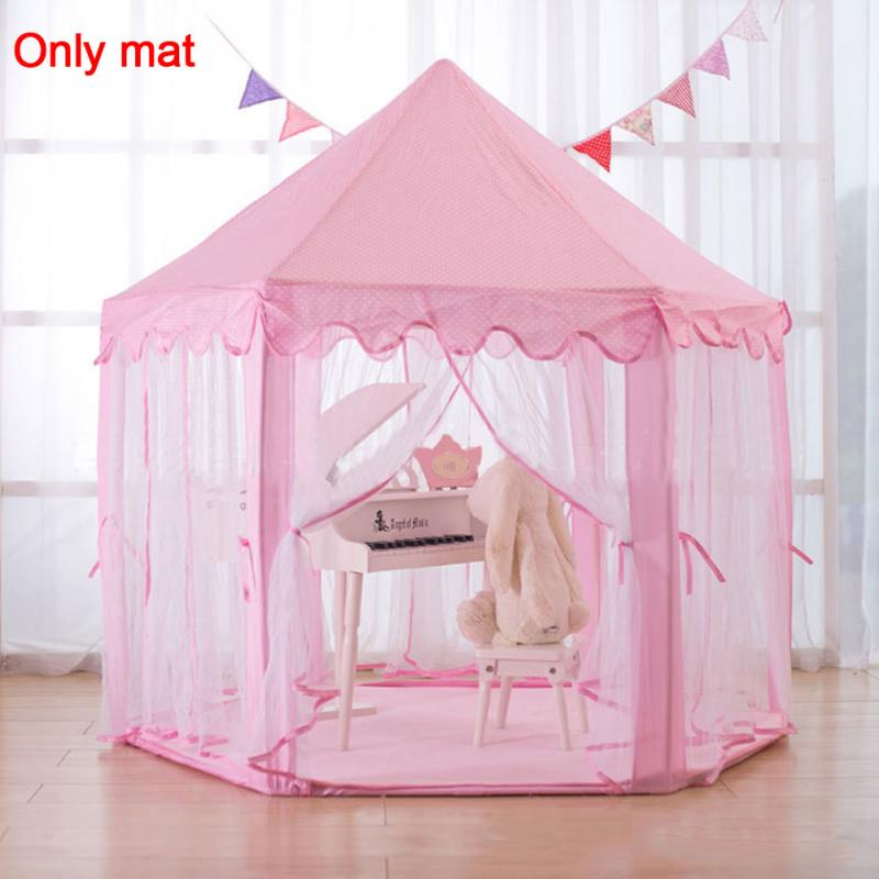 1P Tent Hexagon Princess Castle Playhouse Pad Non-slip Baby Play Mat Plush Mats Kids Play Rug Pad Cushion Blanket Pink