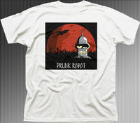 Gildan BAD DRUNK ROBOT Bender Movie Logo White Cotton T Shirt 9888 Summer Short Sleeves Fashion