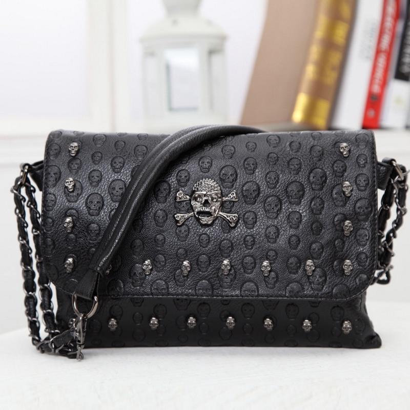 Buyuwant 2018 Summer new women's bag skull envelope shoulder bag rivet retro handbag gothic lady purse BM01-SB-kltxfg 3