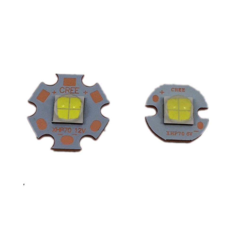 1 pièces CREE XHP70 30 W LED 4022LM 6 V/12 V quatre puces soudage 16 20mm cuivre pcb Ultra-haute luminosité lampe frontale voiture ampoules coldwhite