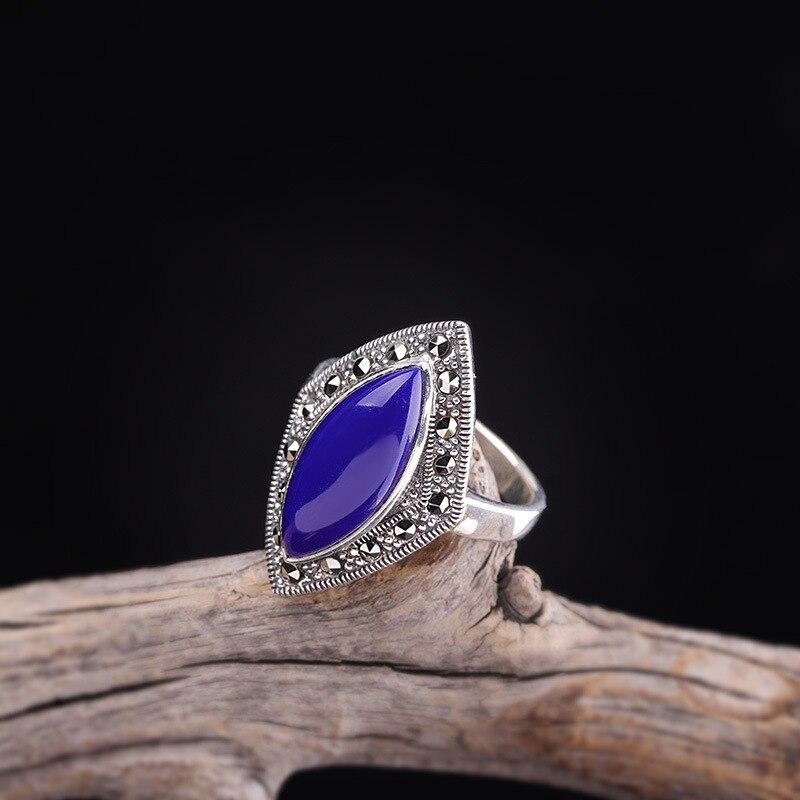 Nouvelle mode Lapis Lazuli anneau pour femmes réel 925 en argent Sterling élégance naturelle pierre gemme anneau Original bijoux fins
