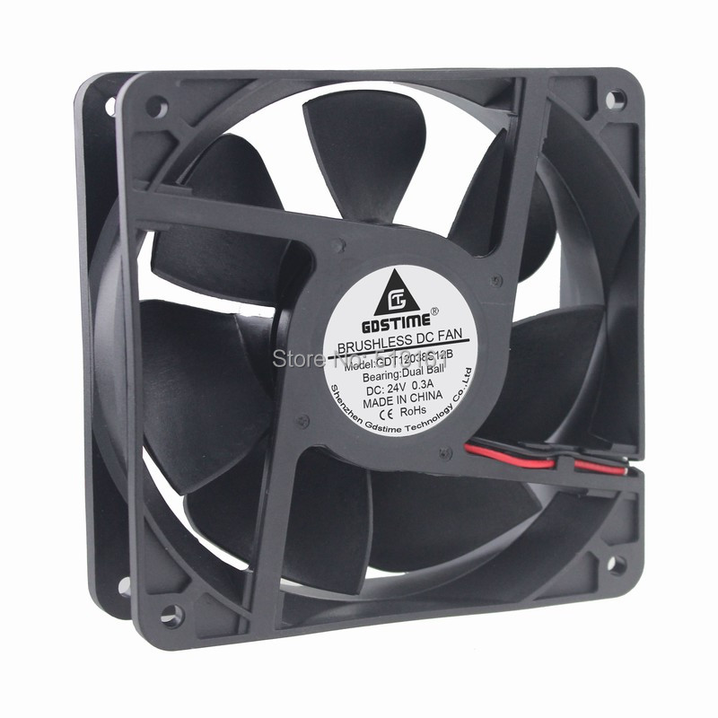 Gdstime DC 24V 2 Pin 120mm 120x120x38mm 12cm Double Ball Bearing Industrial Exhaust Cooling Fan