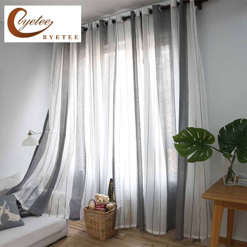 US $5.5 45% OFF|[byetee] Striped Curtains Flax Yarn Grey Translucent  Screens Custom Modern Curtains Living Room Bedroom Window Finished  Curtain-in ...