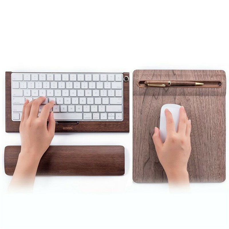 New Samdi Bamboo Wood Stand Holder For 2nd Apple Bluetooth Keyboard Stand for Apple Pencil Stand & Wood Wrist Pad Wood Mouse Pad 2018 new samdi wood mouse pad with pen slot luxury computer mouse pads birch walnut mouse mat for apple mouse apple pen pencil
