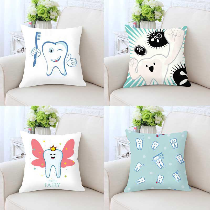White Teeth Pillow Case Kids Funny Cartoon Fairies Clean The Tooth Care Treatmen Toothbrush Character Cleaning Cushion Cover