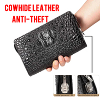 Classic Crocodile Wallets for Men Genuine Leather Clutch Bag Male Long Purse Phone Holder Anti theft Zipper Design Handy Bag