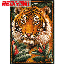 Latch Hook Rug Kits Unfinished Crocheting Tapestry 3D Yarn Needlework Cushion Set for Embroidery Carpet The King of Jungle Mat(China)