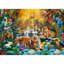 Full Square/Round Drill 5D DIY Diamond Painting Tiger Buddha Embroidery Cross Stitch  Home Decor Gift diapai 100% full square round drill 5d diy diamond painting animal tiger diamond embroidery cross stitch 3d decor a18678
