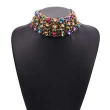 Роскошное ожерелье-чокер со стразами ожерелье s большой нагрудник большой воротник Макси эффектное женское ожерелье, бохо этнические индийские свадебные украшения