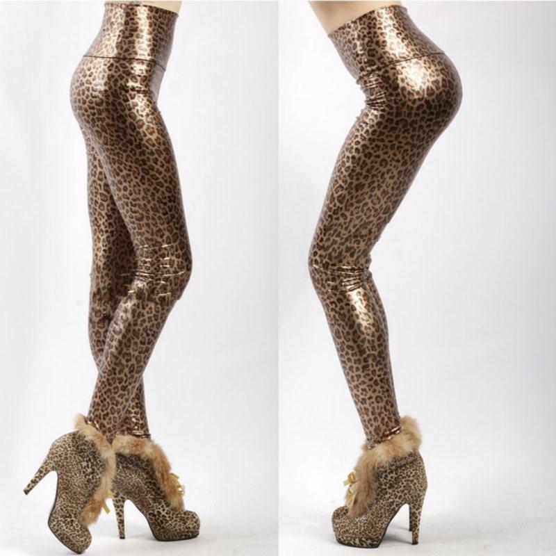 Leopard Printed Leggings Faux Leather Pants Leggings For Women's Fitness Gothic Leggins Winter Boots For Women Push Up Legging