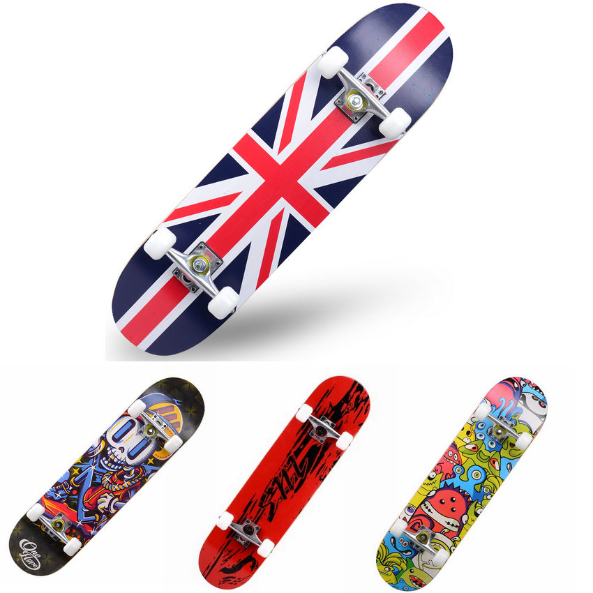 Adult & Kids Skate board Maple Wood Deck Longboard High Speed Drift Skate Warped Skateboard Bearing150kg