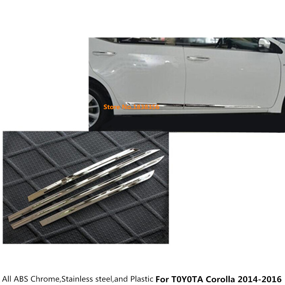 Car Bumper Cover Abs Chrome Side Door Rim Stick Strip Lamp Molding 4pcs For Toyota Highlander 2008 2009 2010 2011 2012 2013 2014 Clearance Price Chromium Styling