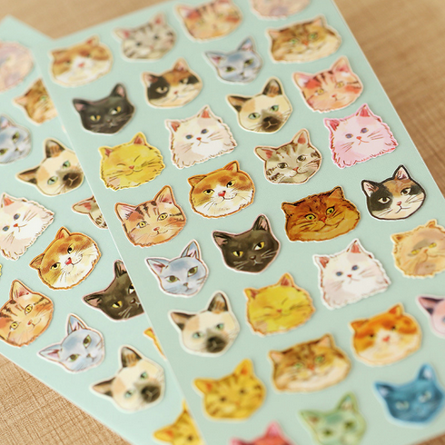 Lovely Animal Cat Face Cartoon Expression Decorative Stickers Adhesive Stickers Scrapbooking Stationery Diary Stickers 013
