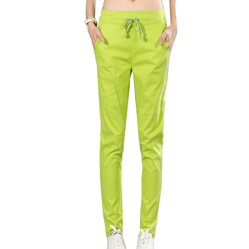 Harem   Pants   for Women 2019 Summer Cotton Linen Candy Color Woman Pencil Trousers High Waist Casual Female   Capris   Pantalon Mujer