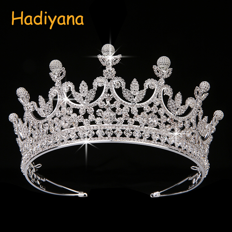 Hadiyana Fashion Luxury AAA CZ Bridal Hair Tiaras Solid Round Ball Noble Noble Temperament Princess Crown Wedding Party BC4323 hyperset noble hs6012