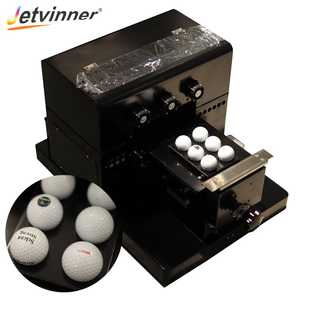 Jetvinner A4 size UV Printer LED UV Flatbed Printers With Emboss Effect With Golf Tray for Ball, Phone Case, Leather,TPU, Acylic