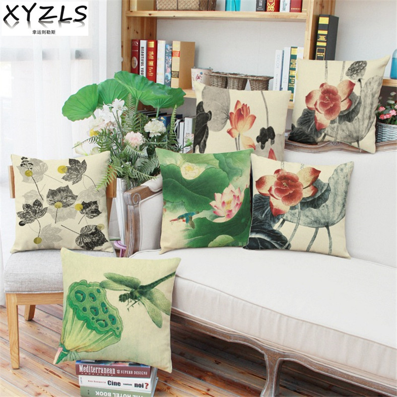 XYZLS Chinese Classical Lotus and Seedpod Sofa Cushion Covers Throw Pillow Case for Bar Bed Office Car Cafe Shop Decor Gift